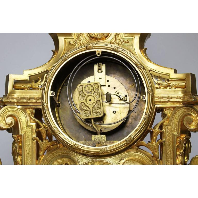 French 19th Century Louis XIV Style Figural Ormolu Clock Garniture, Raingo Frers For Sale 2