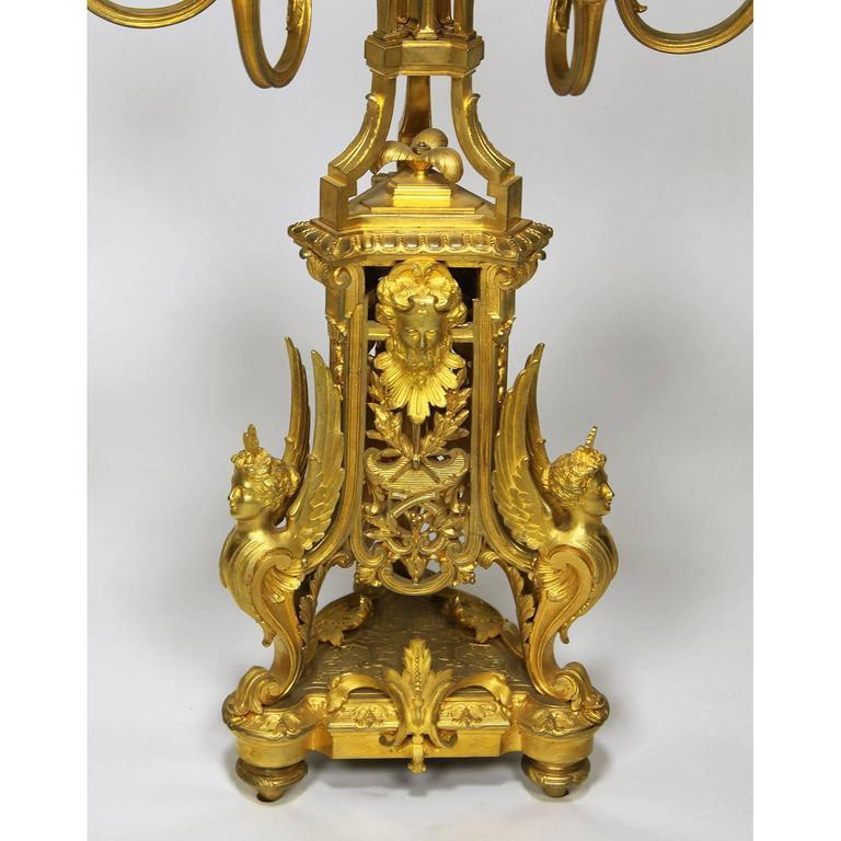French 19th Century Louis XIV Style Figural Ormolu Clock Garniture, Raingo Frers For Sale 4