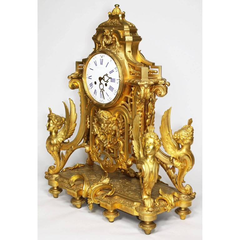Bronze French 19th Century Louis XIV Style Figural Ormolu Clock Garniture, Raingo Frers For Sale