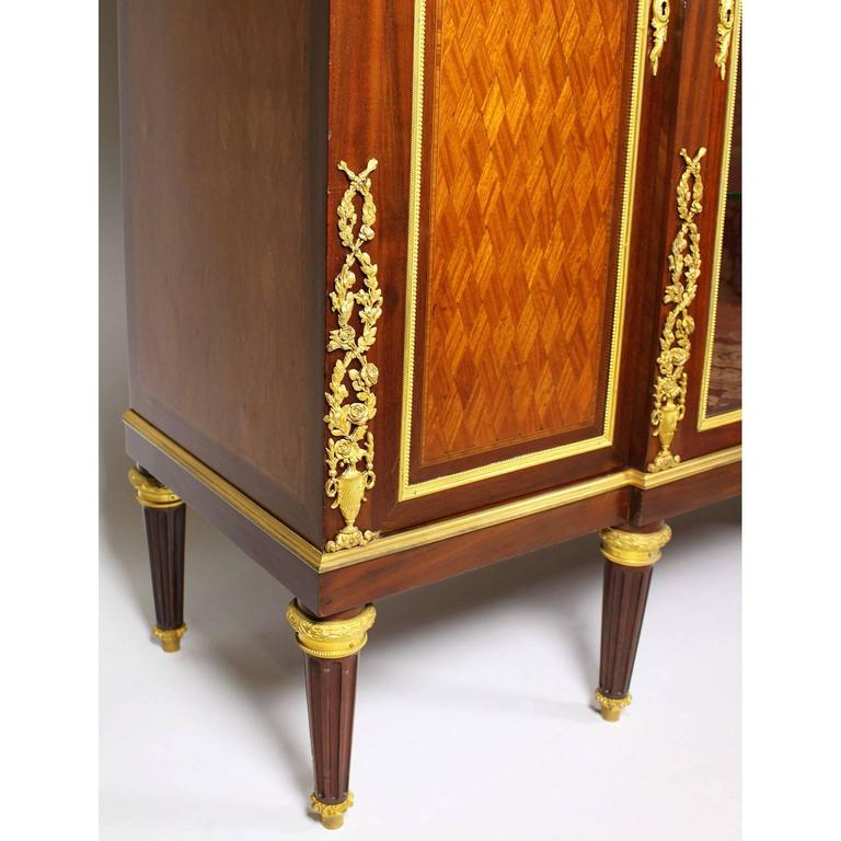 Bronze French 19th-20th Century Louis XVI Style Ormolu-Mounted Kingwood Vitrine Cabinet For Sale
