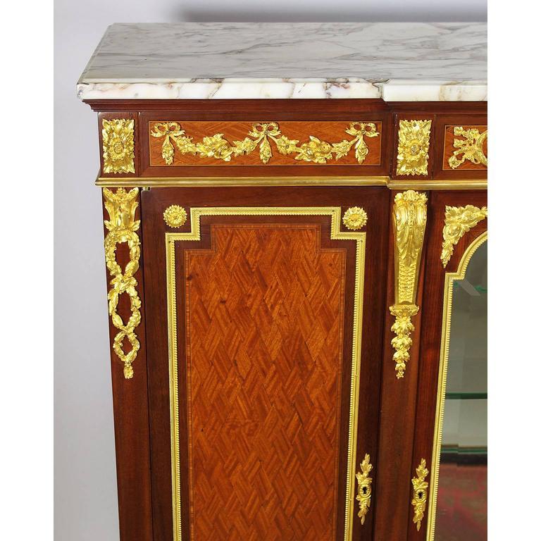 Gilt French 19th-20th Century Louis XVI Style Ormolu-Mounted Kingwood Vitrine Cabinet For Sale