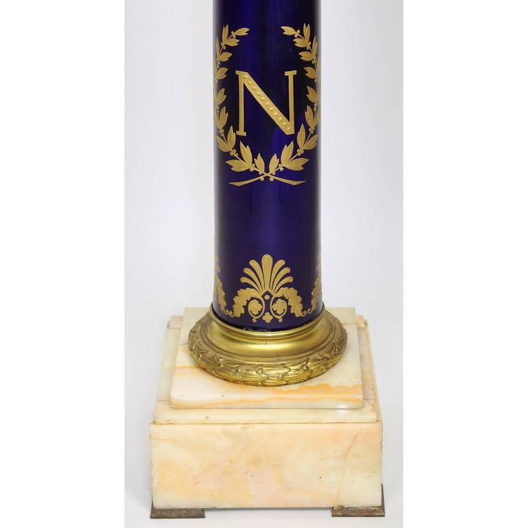 French Empire Napoleon III Sevres Porcelain Gilt Bronze Mounted & Onyx Pedestal In Excellent Condition For Sale In Los Angeles, CA