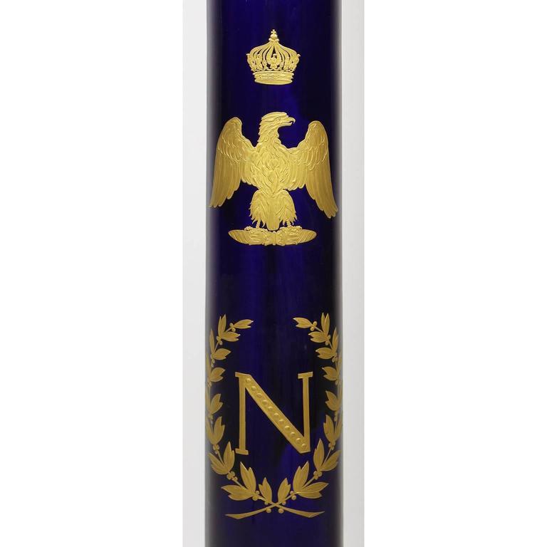 Enameled French Empire Napoleon III Sevres Porcelain Gilt Bronze Mounted & Onyx Pedestal For Sale