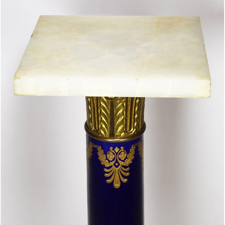 French Empire Napoleon III Sevres Porcelain Gilt Bronze Mounted & Onyx Pedestal For Sale 1