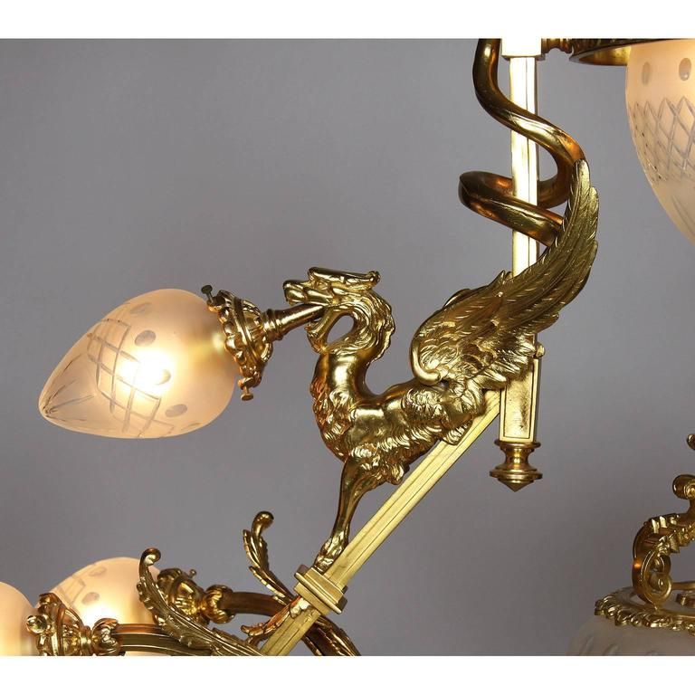 Blown Glass French Belle Epoque 19th-20th Century Neoclassical Style Gilt-Bronze Chandelier For Sale