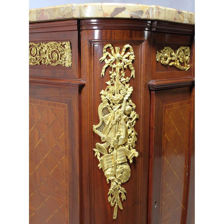 French 19th Century Louis XVI Style Ormolu-Mounted Marquetry Demilune Commode For Sale 1