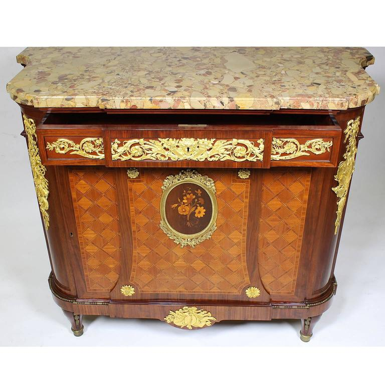 Belle Époque French 19th Century Louis XVI Style Ormolu-Mounted Marquetry Demilune Commode For Sale