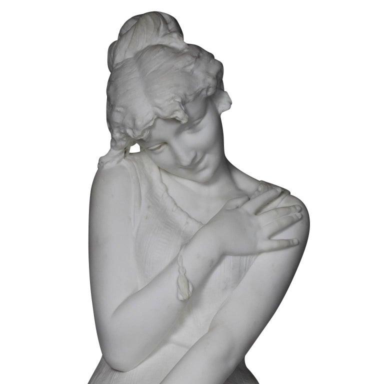 Italian 19th Century Carrara Marble Sculpture Going for a Swim by Emilio Fiaschi For Sale 1