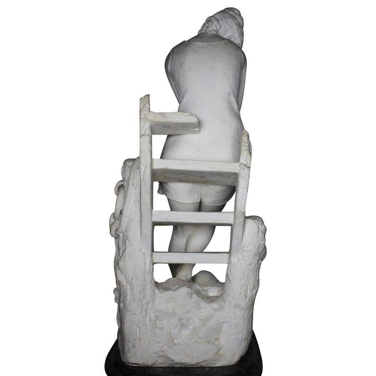 Italian 19th Century Carrara Marble Sculpture Going for a Swim by Emilio Fiaschi For Sale 8