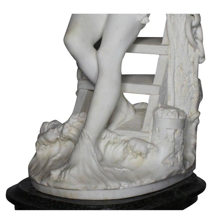 Italian 19th Century Carrara Marble Sculpture Going for a Swim by Emilio Fiaschi For Sale 6