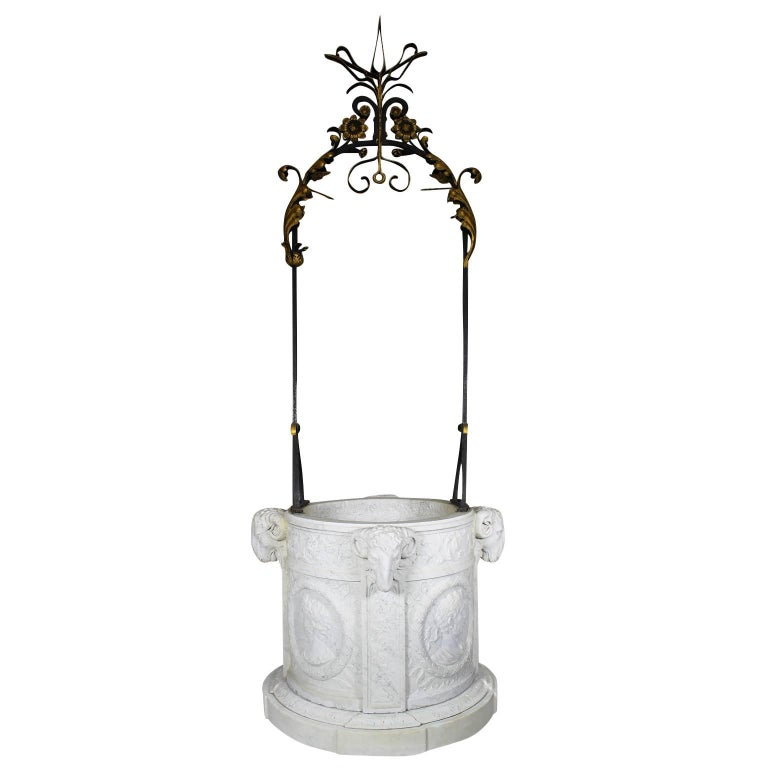 Italian 19th Century Carved Carrara Marble and Wrought Iron Wishing Well Head For Sale