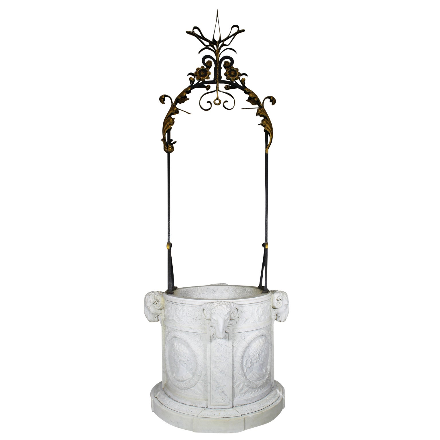 Italian 19th Century Carved Carrara Marble and Wrought Iron Wishing Well Head