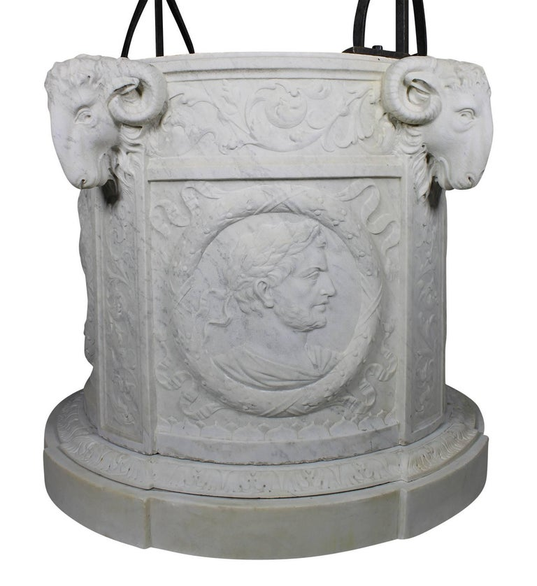 Hand-Carved Italian 19th Century Carved Carrara Marble and Wrought Iron Wishing Well Head For Sale