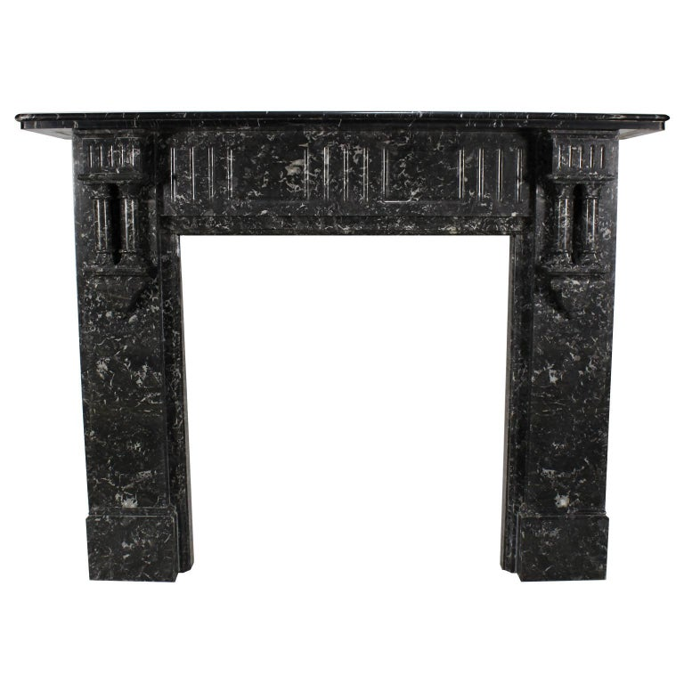 French 19th-20th Century Louis XVI Style Veined Grey Marble Fireplace Mantel
