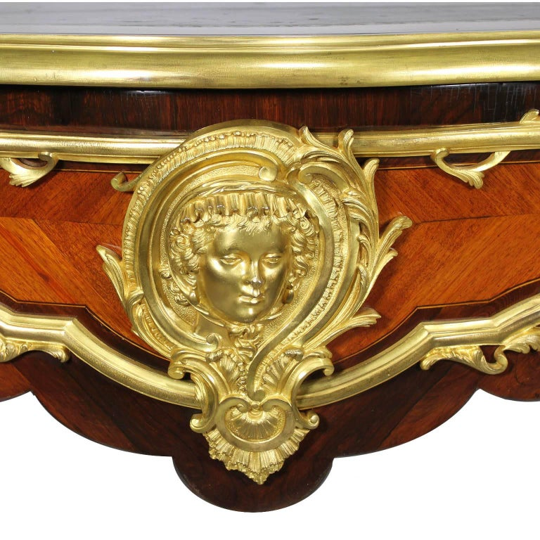 French 19th Century Louis XV Style Gilt Bronze-Mounted Kingwood Bureau Plat Desk For Sale 4
