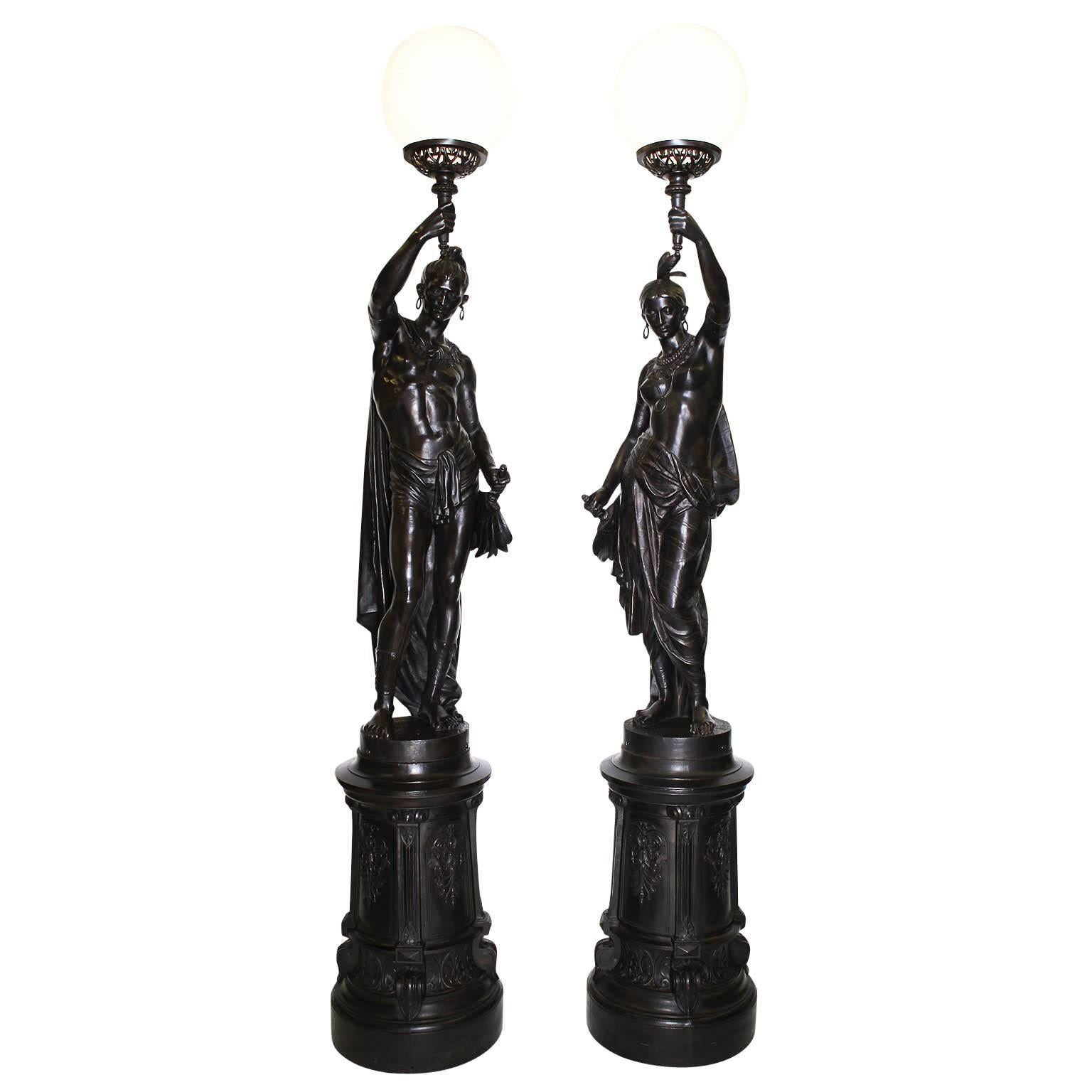 Pair of French 19th Century Lifesize Cast-Iron Sculpture Torcheres, Val d'Osne