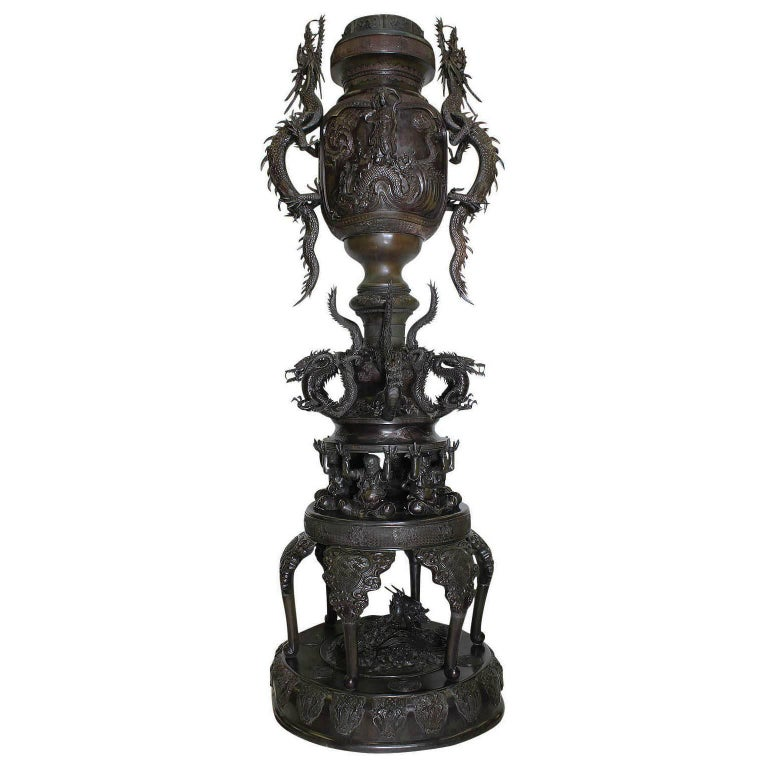 Monumental Japanese Early Meiji Taisho Period Bronze Censer Urn with Dragons