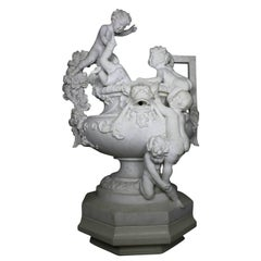 French 19th Century Carved Marble Whimsical Figural Urn Fountain with Children