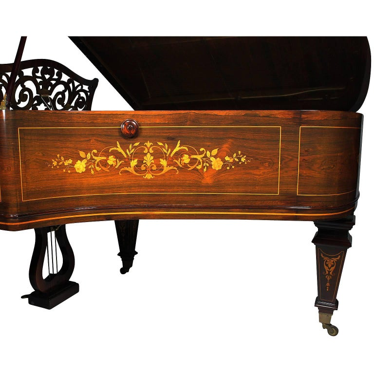 Neoclassical Revival 19th Century Louis XIV Style Marquetry Baby Grand Piano by Collard & Collard For Sale