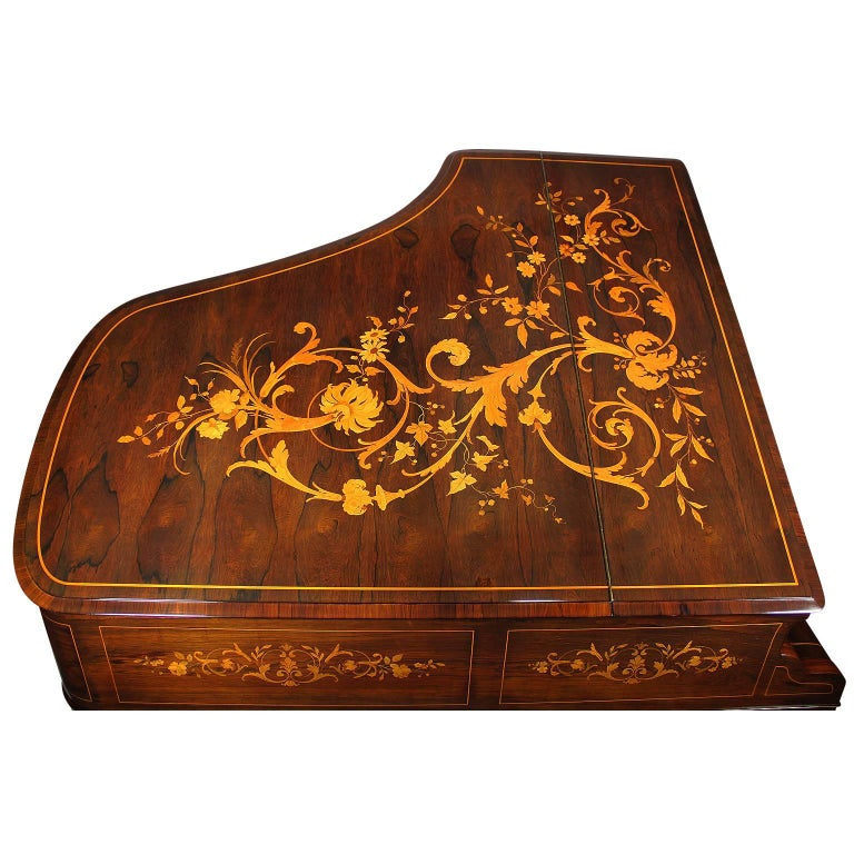 Veneer 19th Century Louis XIV Style Marquetry Baby Grand Piano by Collard & Collard For Sale