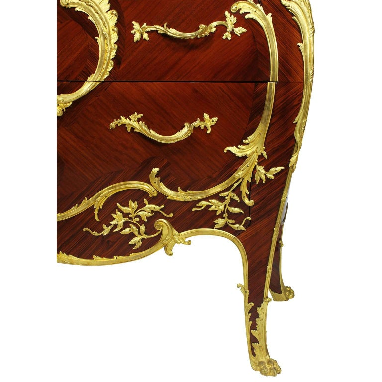 Veneer French 19th-20th Century Louis XV Style Ormolu-Mounted Commode For Sale