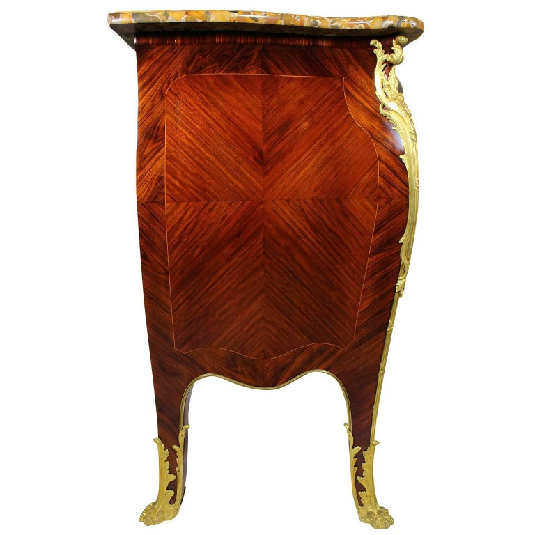 Kingwood French 19th-20th Century Louis XV Style Ormolu-Mounted Commode For Sale