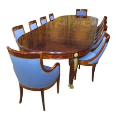 French 19th-20th Century Empire Style 13-Piece Ormolu-Mounted Dining Suite