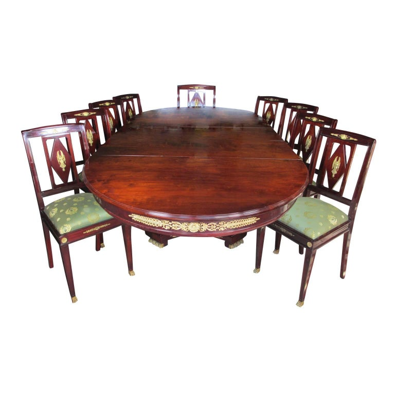 French 19th Century Empire Style Napoleon III Mahogany And Ormolu Dining Suite For Sale