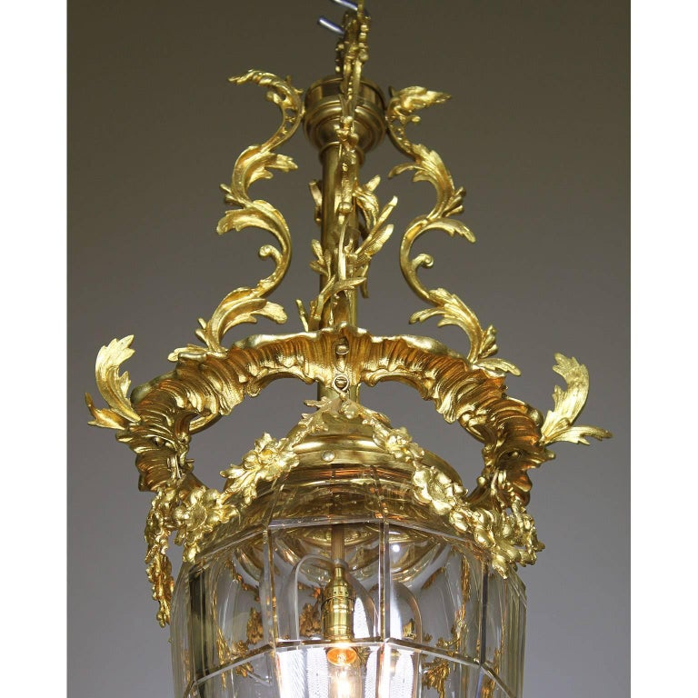 Carved French 19th-20th Century Gilt-Bronze and Molded Glass