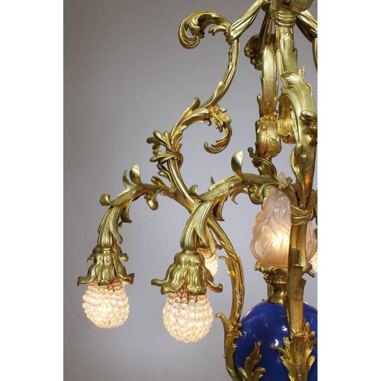 Glass French Belle Époque 19th-20th Century Gilt & Enameled Bronze Bouquet Chandelier For Sale