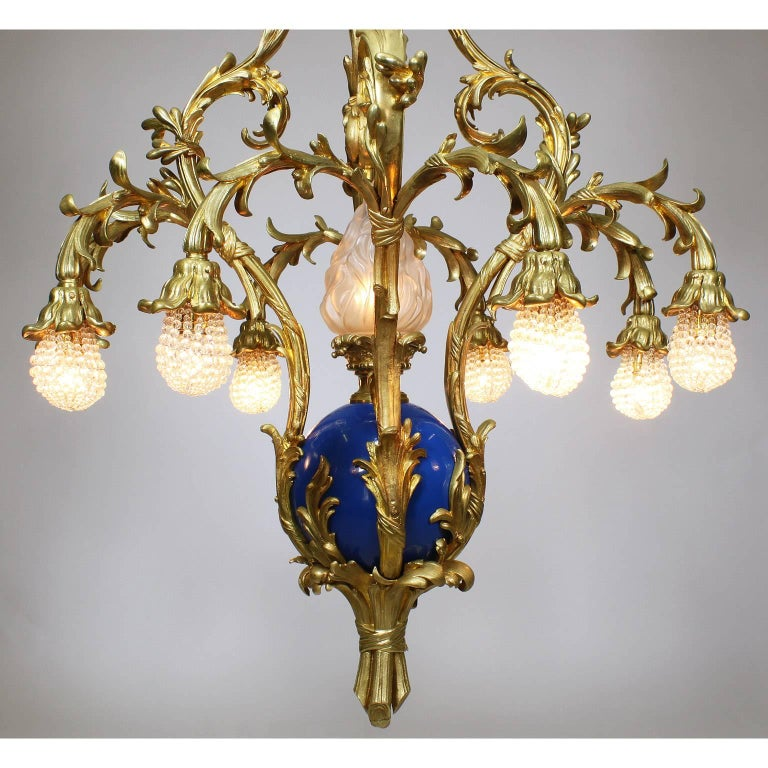 Early 20th Century French Belle Époque 19th-20th Century Gilt & Enameled Bronze Bouquet Chandelier For Sale