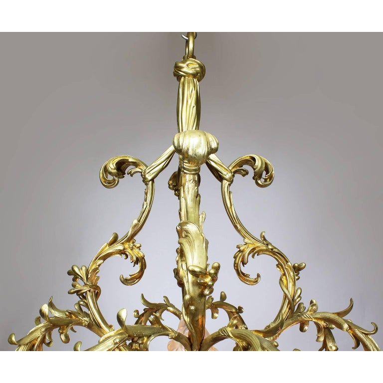 French Belle Époque 19th-20th Century Gilt & Enameled Bronze Bouquet Chandelier In Excellent Condition For Sale In Los Angeles, CA
