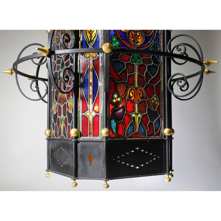 Palatial Italian 19th Century Baroque Style Stained Glass Grand Hall Lantern In Good Condition For Sale In Los Angeles, CA