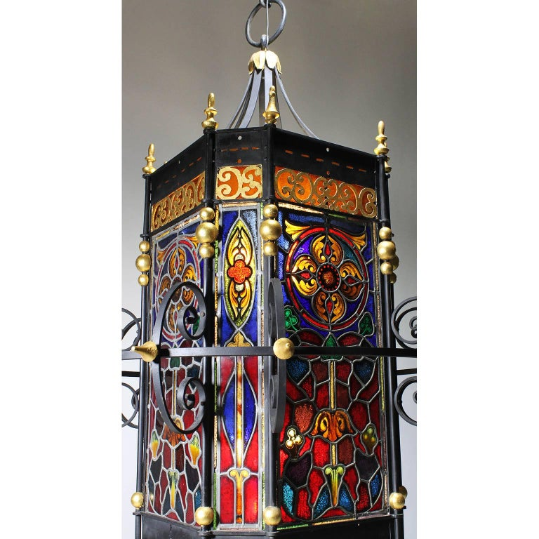 Gilt Palatial Italian 19th Century Baroque Style Stained Glass Grand Hall Lantern For Sale