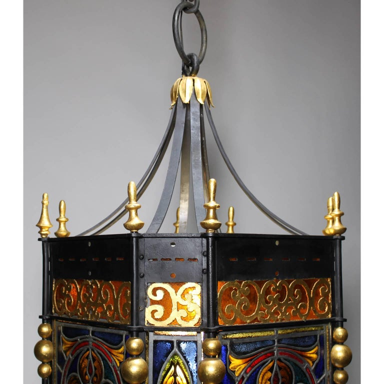 Palatial Italian 19th Century Baroque Style Stained Glass Grand Hall Lantern For Sale 3