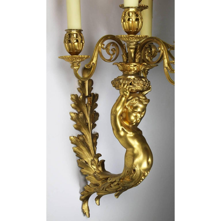 Early 20th Century Pair of French Belle Époque Louis XV Style Gilt Bronze Six-Light Wall Sconces For Sale