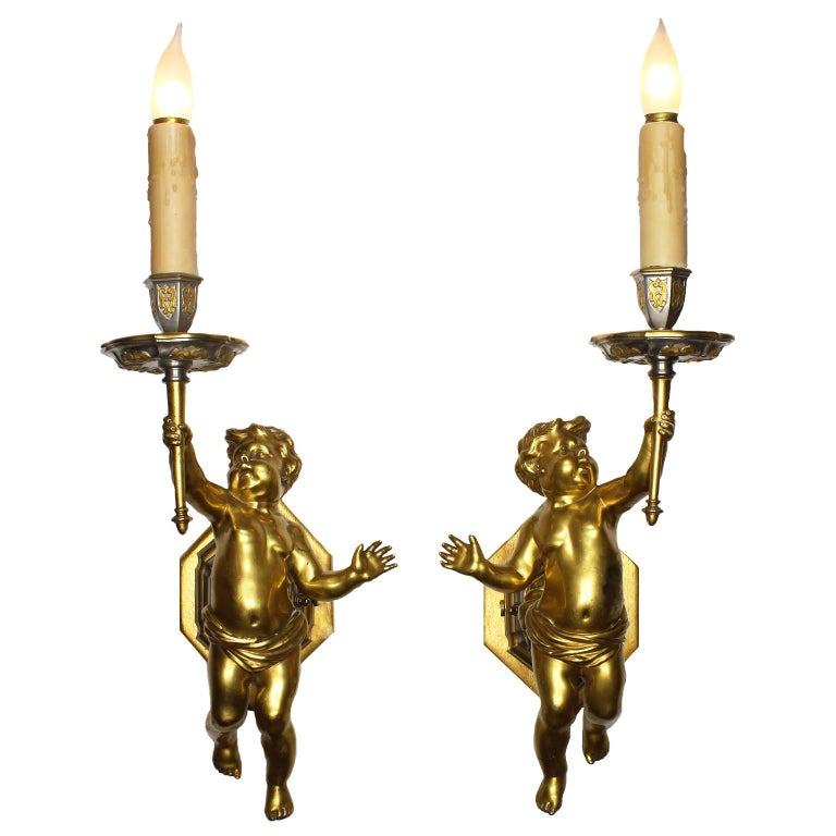 Pair of French 19th-20th Century Louis XV Style Belle Epoque Putti Wall Lights