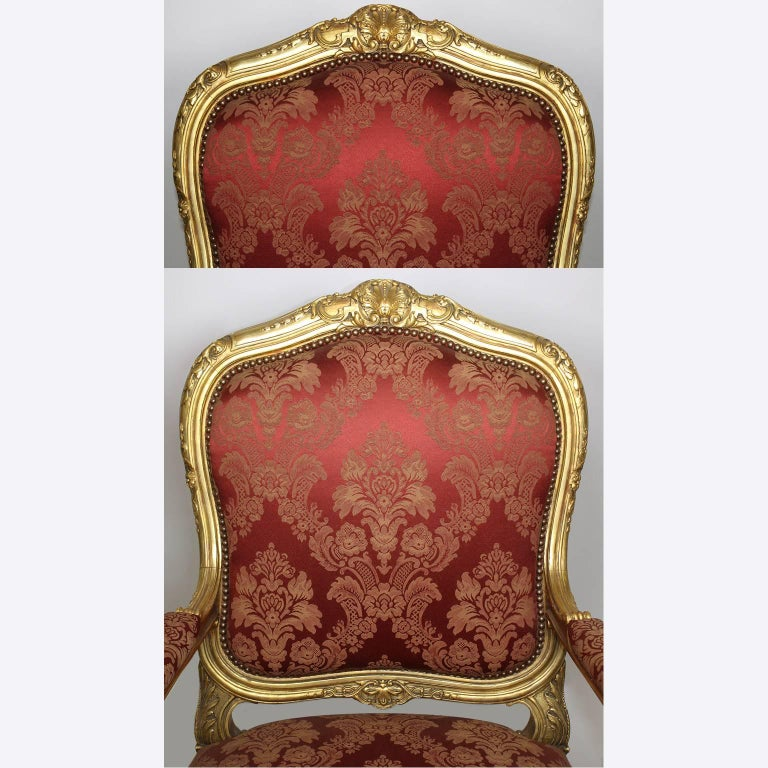 Palatial 19th Century Louis XV Style Giltwood Carved Three-Piece Salon Suite For Sale 1