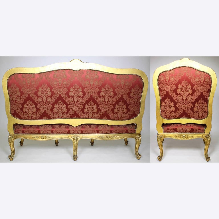 Palatial 19th Century Louis XV Style Giltwood Carved Three-Piece Salon Suite For Sale 4