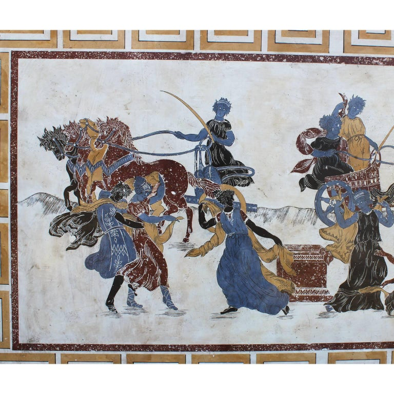 A large Italian 19th-20th century neoclassical and Greco-Roman style architectural Scagliola wall plaque depicting chariots, horses, allegorical maidens and gods, inlaid and painted in Imperial porphyry, sienna and other colorful stones and
