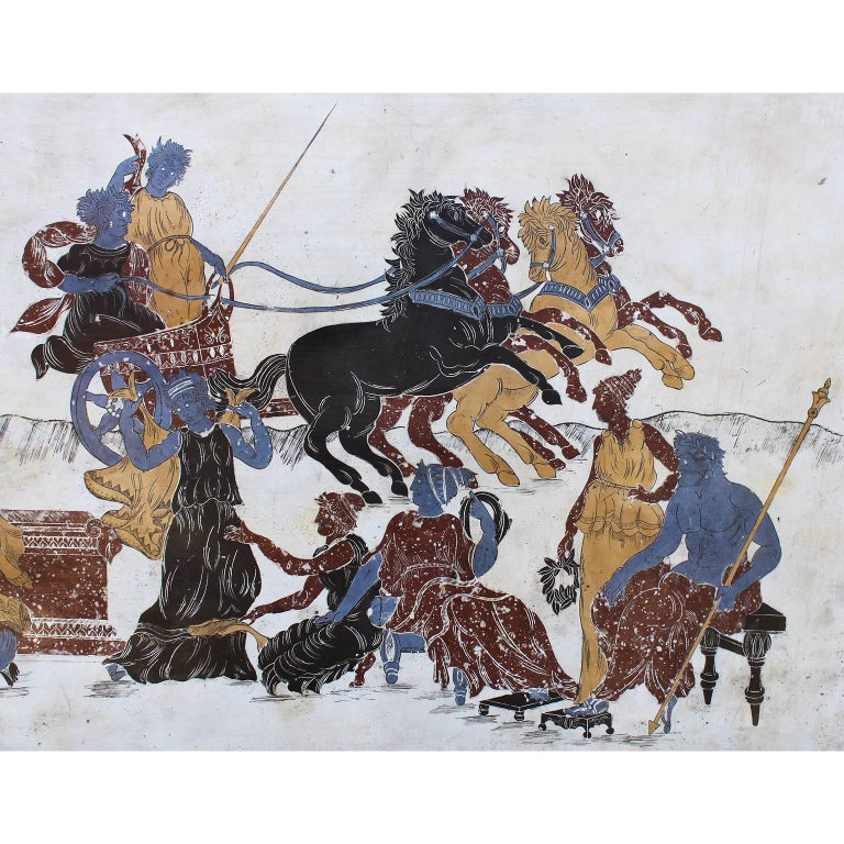 Early 20th Century Italian 19th-20th Century Neoclassical & Greco-Roman Style Scagliola Wall Plaque For Sale