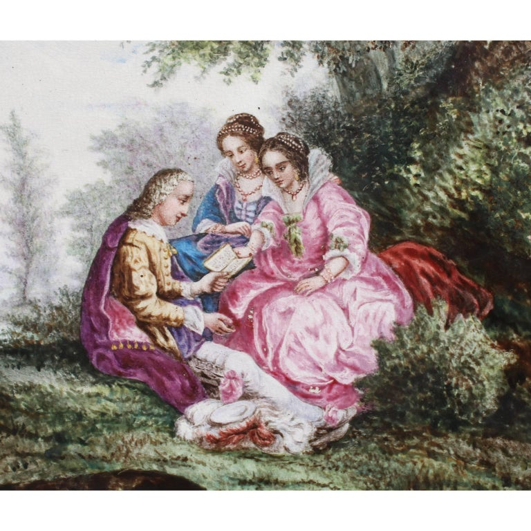 Romantic Continental 19th Century Enameled Decorated Porcelain Painted Plaque
