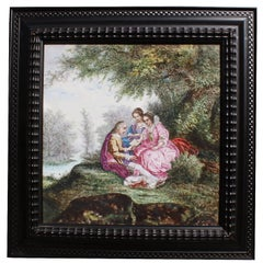 """Continental 19th Century Enameled Decorated Porcelain Painted Plaque """"Courting"""""""