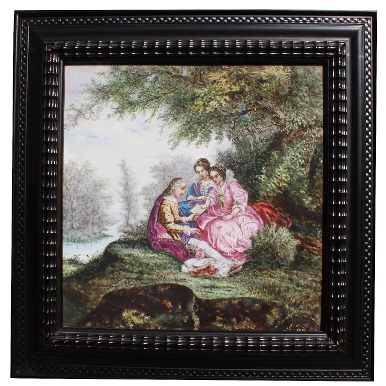 """Continental 19th Century Enameled Decorated Porcelain Painted Plaque """"Courting"""" For Sale"""