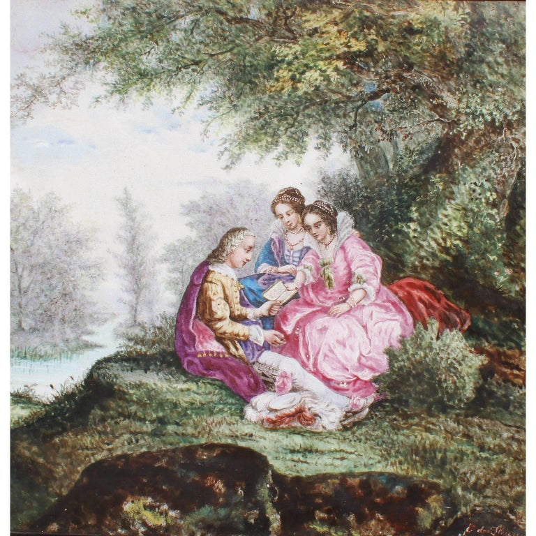 A fine continental 19th century enameled decorated porcelain plaque depicting a garden courting scene of a gentleman reading to poems to two young ladies, within an ebonized wood frame. Signed E. de Fleury, 1874 (l/r). Probably French, circa