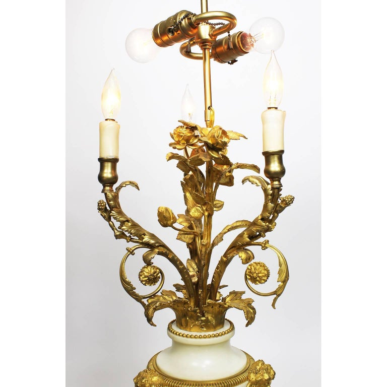 Pair of French 19th Century Louis XVI Style Ormolu & Marble Candelabra Beurdeley In Good Condition For Sale In Los Angeles, CA
