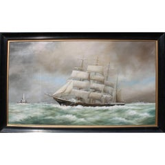"W.S. Lacey 'British, 19th-20th Century' Oil on Canvas ""Tall Ship at Sail"""