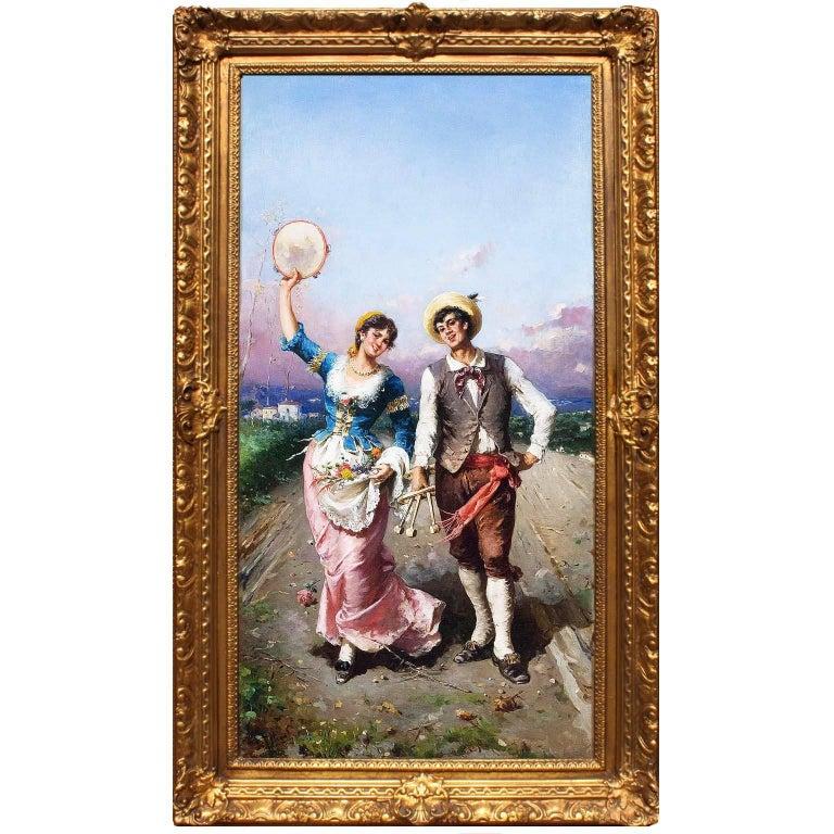 "Francesco Peluso (Italian, 1836-1916) An Oil on Canvas ""The Village Celebration"" For Sale"