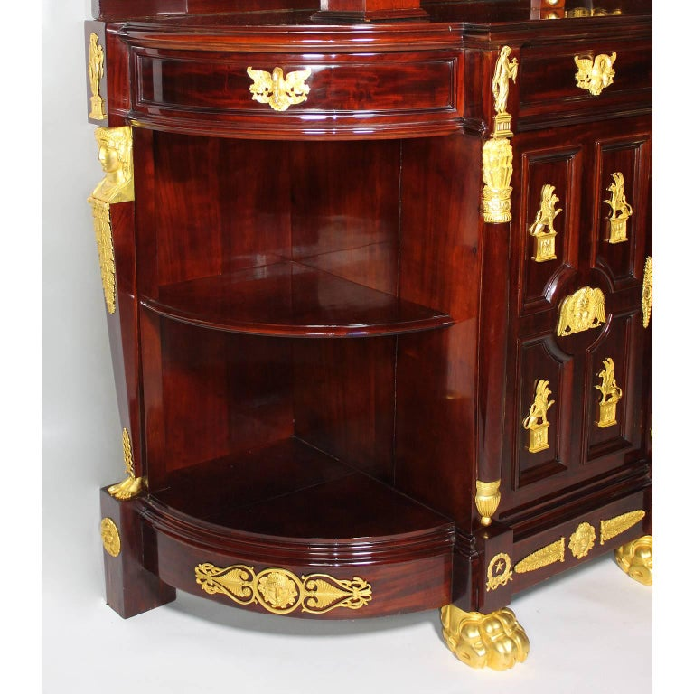 napoleon iii empire revival mahogany gilt and patinated bronze credenza buffet for sale at 1stdibs. Black Bedroom Furniture Sets. Home Design Ideas