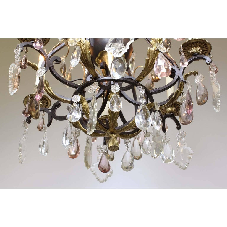 Cut Glass French 19th-20th Century Louis XV Style Wrought Iron & Bronze Crystal Chandelier For Sale